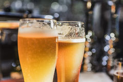 Two glasses of light beer Stock Photo
