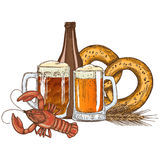 Beer glasses, bottle and crayfish Stock Photo