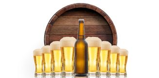 Beer glasses and a bottle on white background. 3d illustration. A beer bottle and glasses of beer on beer barrel top background. 3d illustration Royalty Free Stock Photo