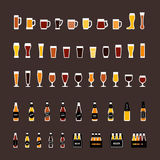 Beer glasses and bottles colored icons set in flat style. Vector Royalty Free Stock Image