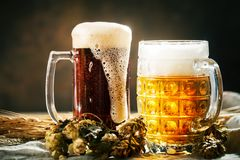 Beer in glasses on a dark background. Oktoberfest. Beer festival. Selective focus. Horizontal stock photography