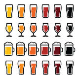 Beer glasses different types icons - lager, pilsner, ale, wheat beer, stout royalty free stock photo