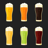Beer glasses different types Stock Photography