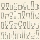 Beer glasses icons set. Wine glass. Cups. Mugs. royalty free illustration