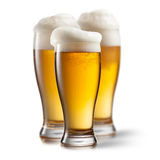 Beer in glasses isolated on white Stock Images