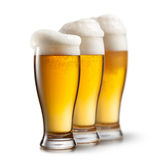 Beer in glasses isolated on white Royalty Free Stock Image