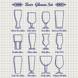 Beer glasses line icons set Stock Photography