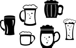 Beer glasses and mugs � Vector illustration Stock Photography
