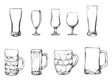 Beer glasses and mugs. Vector illustration of berr mugs and glasses Stock Photo