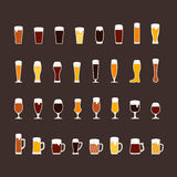 Beer glasses and mugs flat icon set, variety of beers Royalty Free Stock Images