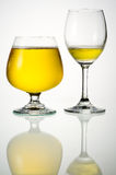 Beer in glasses with reflection Royalty Free Stock Photography
