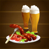 Beer glasses, sausages, wooden background Royalty Free Stock Photo