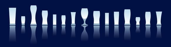 Beer glasses silhouettes Royalty Free Stock Image