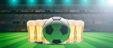 Beer glasses on a soccer ball field background. 3d illustration. Beer glasses on a soccer ball, football field background. 3d illustration Royalty Free Stock Photo