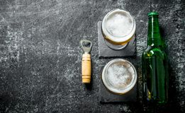 Beer in glasses on the stand royalty free stock image