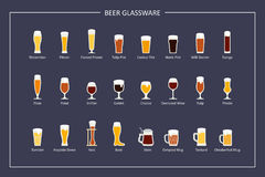 Beer glasses types guide, flat icons on dark background. Horizontal orientation. Vector Stock Photo