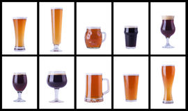 Beer glasses on white Stock Photos