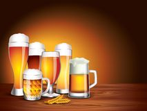 Beer glasses on wooden table, dark background Stock Image