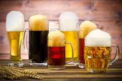 Beer glasses on a wooden table royalty free stock photography
