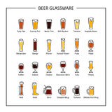 Beer glassware guide, colored icons on white background. Vector Stock Photos