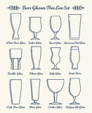 Beer glassware line icons Stock Photos