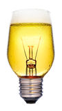 Beer glowing bulb idea concept Royalty Free Stock Photos