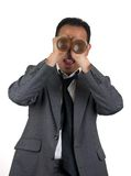 Beer Goggles 1. Man in suit wearing beer goggles Royalty Free Stock Image