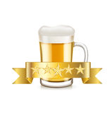 Beer and golden ribbon  Stock Images