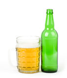 Beer green bottle and glass Stock Photo