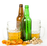 Beer green bottle and glass Royalty Free Stock Images