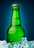 Beer in a green bottle Royalty Free Stock Image