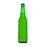 Beer in a green bottle isolated on a white Royalty Free Stock Photos
