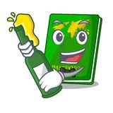 With beer green passport on the mascot table. Vector illustration royalty free illustration