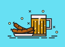 Beer, and grilled sausages. Stock Photos