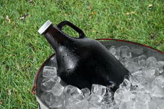 Beer Growler in Ice Bucket Royalty Free Stock Image