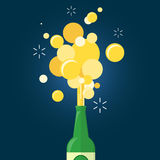 Beer gushing from bottle. On blue background. flat design Royalty Free Stock Images