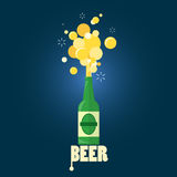 Beer gushing from bottle with text. On blue background. flat design Stock Photo