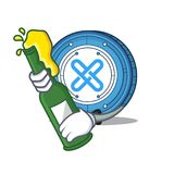 With beer Gxshares coin mascot cartoon. Vector illustration Royalty Free Stock Images