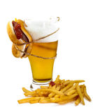Beer, hamburger and fries Royalty Free Stock Images