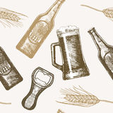 Beer Hand Draw Sketch Background Pattern. Vector Stock Photography