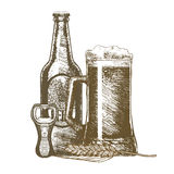 Beer Hand Draw Sketch. Vector. Beer Glass Mug, Bottle and Opener. Alcohol Drink Hand Draw Sketch. Vector illustration Stock Photo