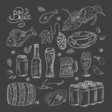 Beer hand-drawn doodle collection Royalty Free Stock Photos