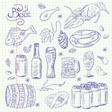 Beer hand-drawn sketchy doodle collection Royalty Free Stock Photo