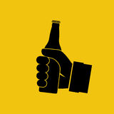 Beer in hand icon. Isolated black silhouette on background. Man holding pictogram bottle without label. Vector illustration flat design Stock Photo