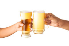Beer with hand making toast Royalty Free Stock Images