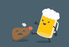 Beer harm the liver. Beer kick a liver. This picture means drink beer harm the liver Royalty Free Stock Photo