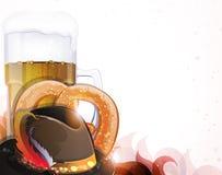 Beer, hat and pretzel Stock Photos