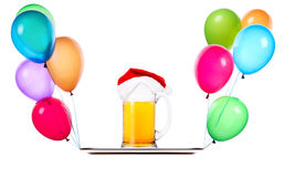 Beer with hat of Santa and balloons Royalty Free Stock Image