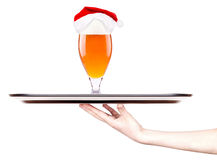 Beer and hat of Santa Claus Stock Images