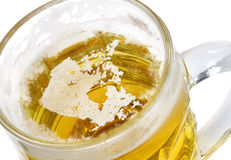 Beer head shaped as Canada in a beer mug.(series) Royalty Free Stock Photography